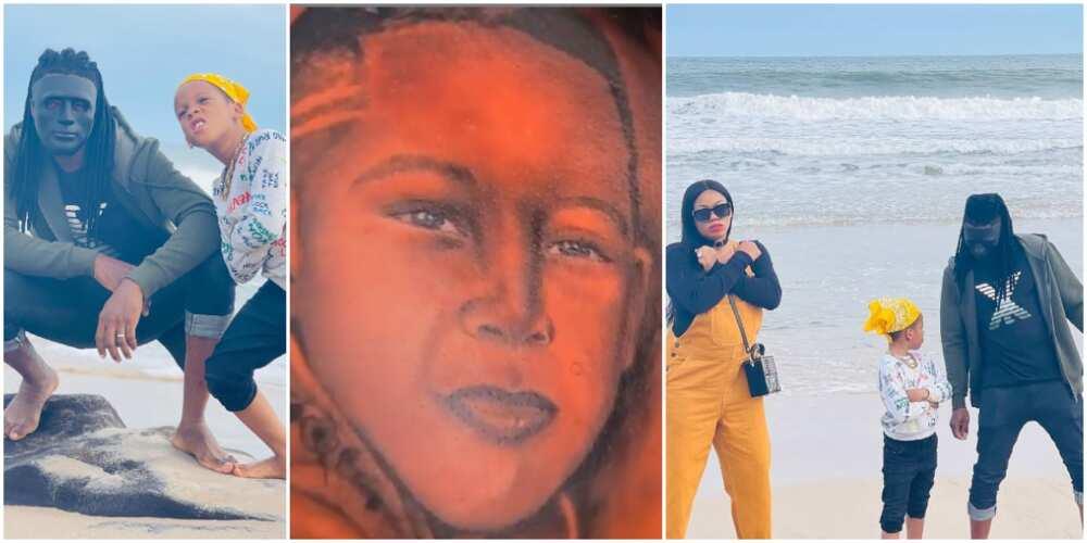 Toyin Lawani's hubby tattoos step-son Tenor's face