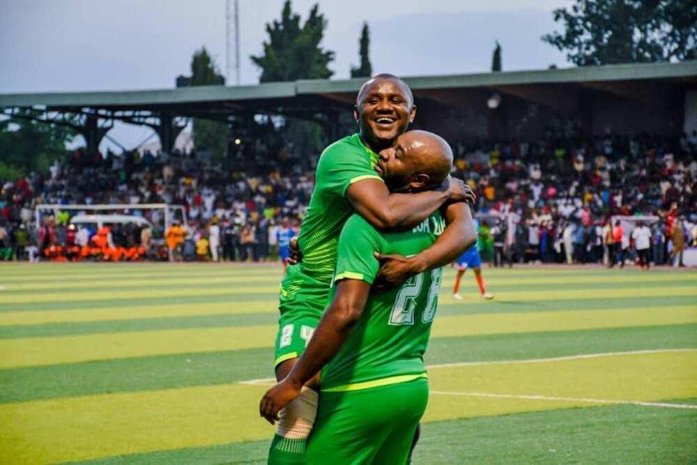 Noah Dallaji celebrates a goal at the football exhibition