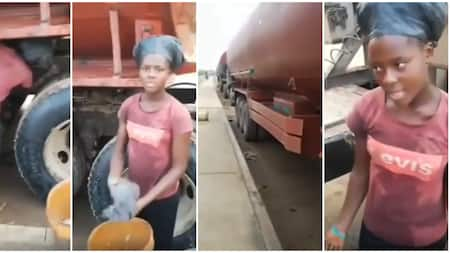 18-year-old Nigerian lady who washes tankers to support her studies goes viral as video emerges, causes stir