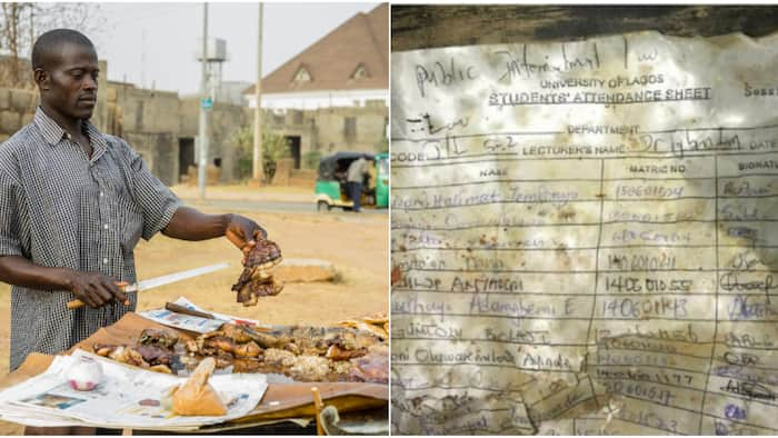 Something you struggled to sign: Massive reactions as UNILAG law attendance sheet is used for suya
