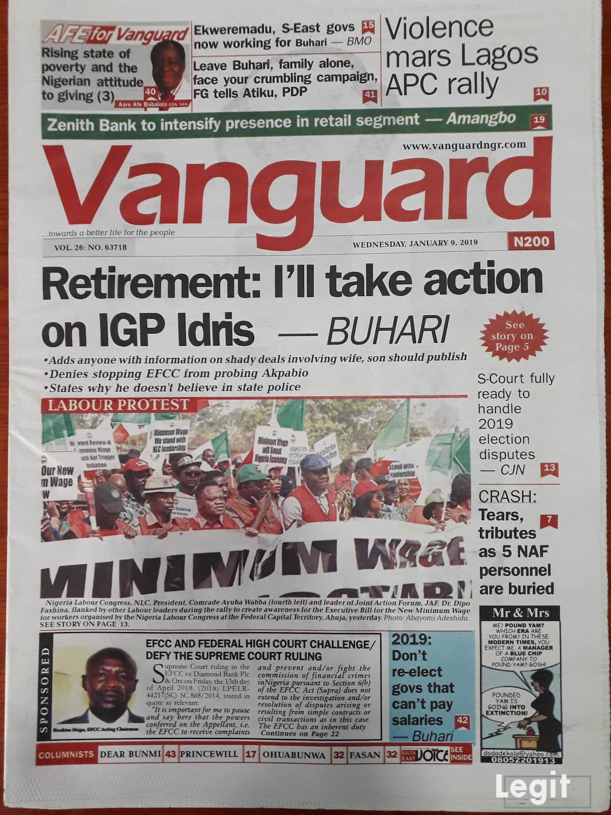 Vanguard newspaper for Wednesday, January 9. Credit: Legit.ng