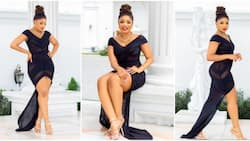 Her royal highness: Fans praise BBNaija's Queen as she makes fashion statement in sheer black dress
