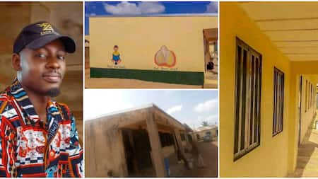 Nigerian man takes action instead of complaining, paints dilapidated government school himself in fine photos