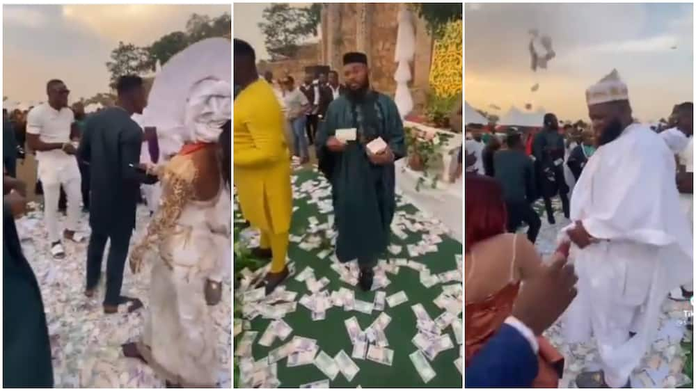 Video Shows Nigerian Men with Big bundles of naira notes 'raining' money on party guests