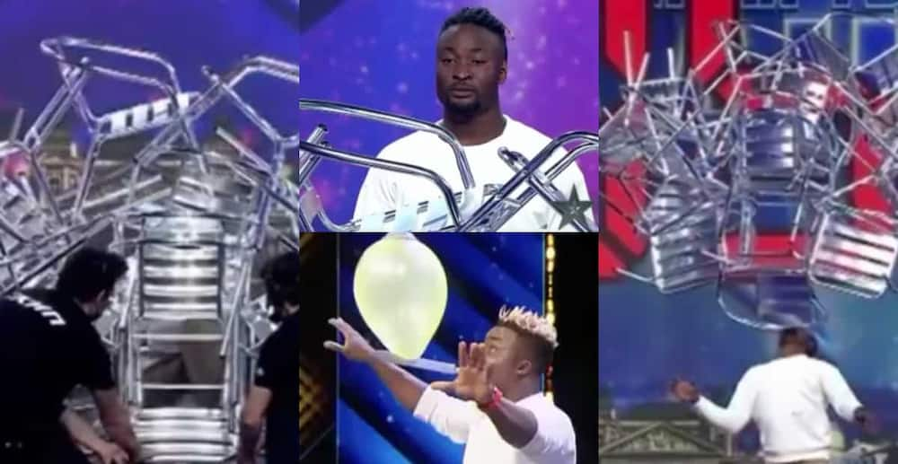 Hayford Okine: Ghanaian acrobat sets world record as he balances 16 chairs with his teeth in 10 seconds