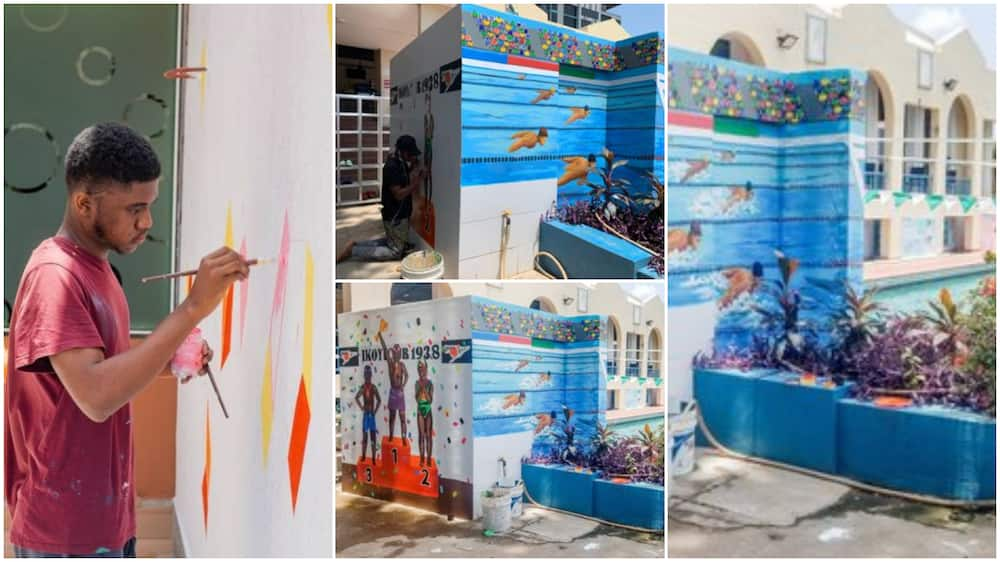 Creative Nigerian man beautifies swimming pool for kids with cute painting