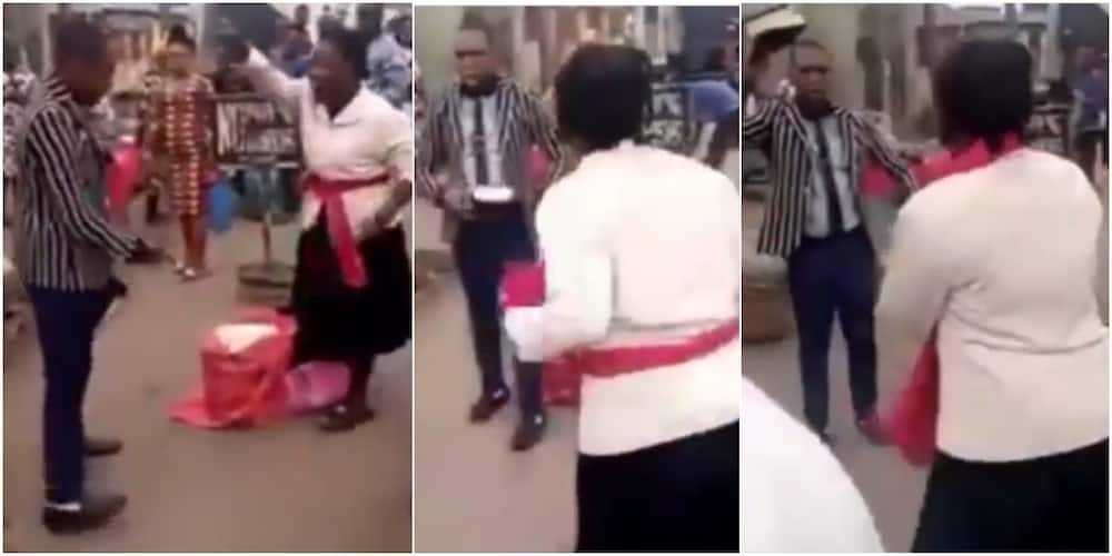 Male and female preachers fight over preaching spot in Ikeja area of Lagos state, video goes viral they battle to reclaim territory