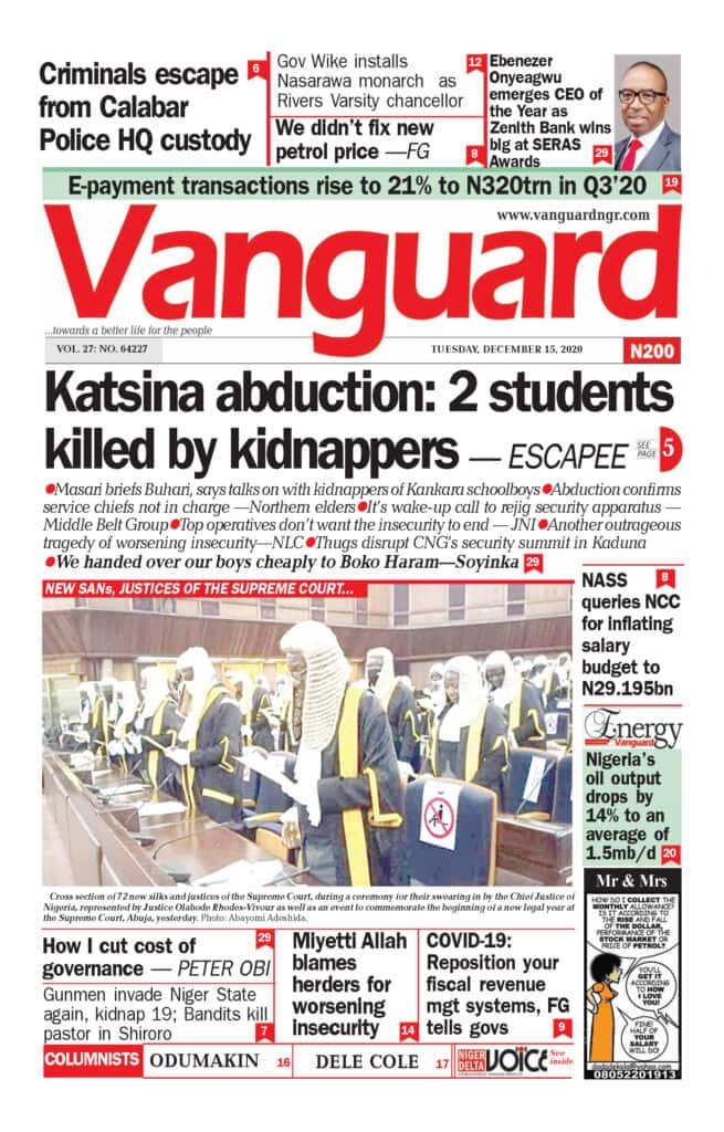 Newspapers reviews: Escapee narrates how 2 students were killed by kidnappers in Katsina