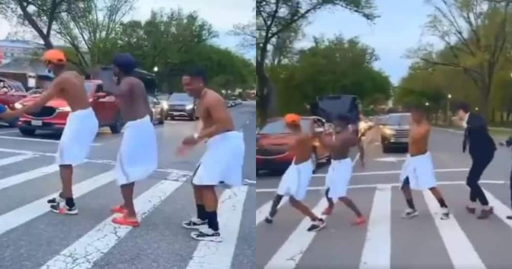 Halala: Guys wearing towels and dancing to Amapiano holds up traffic