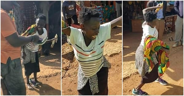 Ugandan woman bursts into celebration after being gifted a pair of shoes by stranger ▷ Legit.ng