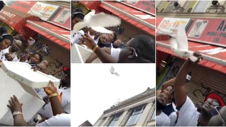 Sound Sultan: Weird MC, other friends release pure white doves into air in tribute to late singer, many react