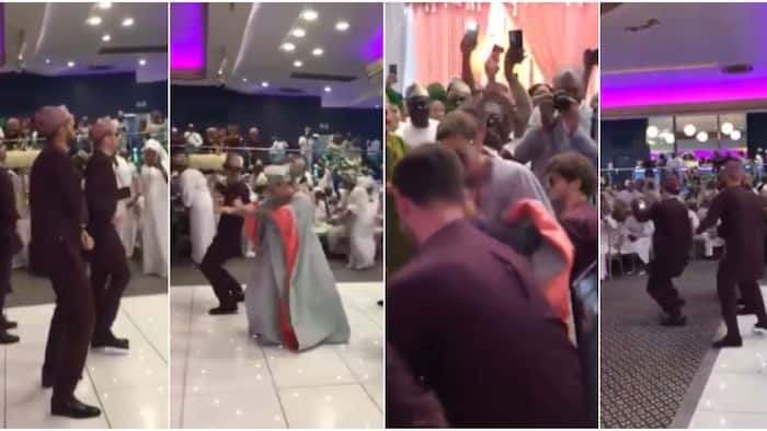 """Oyinbo groom and his groomsmen """"scatter"""" dancefloor with amazing dance moves as they come for Nigerian bride"""