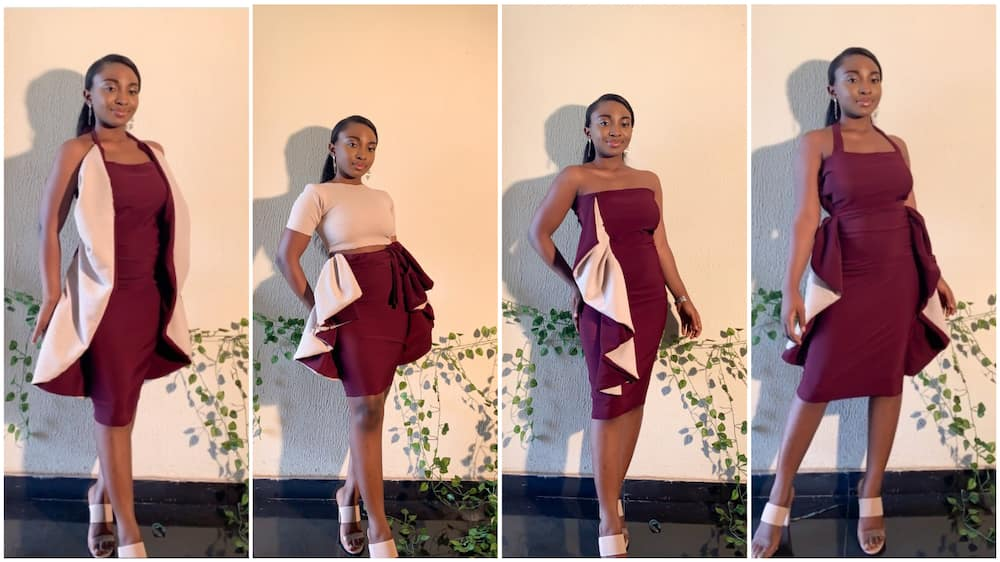 A Nigerian tailor modelled her dress with amazing poses.