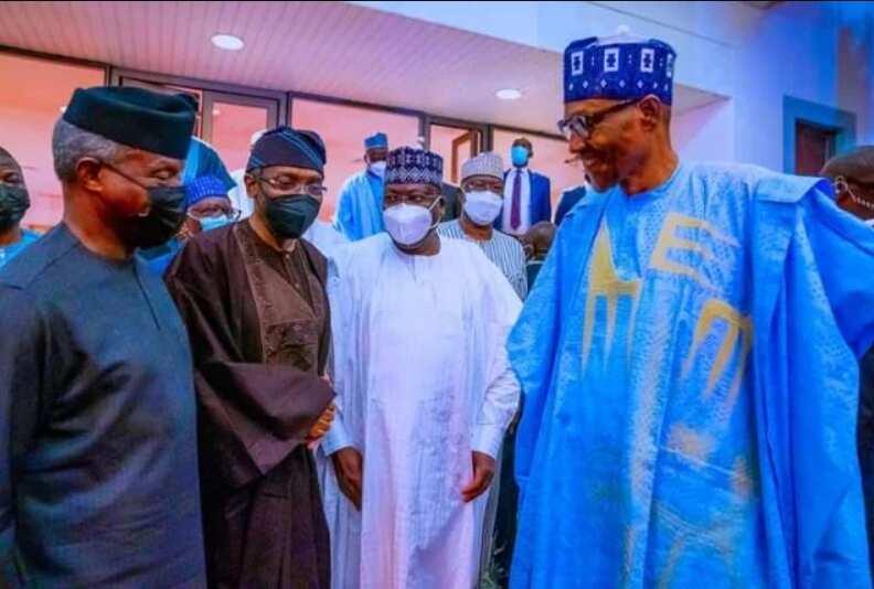 Hotuna: Buhari ya sake cire takunkumin fuska a cikin taro duk da gargadi kan Korona