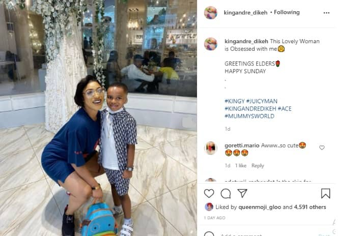 This woman is obsessed with me - Tonto Dikeh's son King Andre says as he shares cute photos