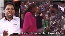 Reactions as woman claims to be 'Lucifer' during deliverance at TB Joshua's church (video)