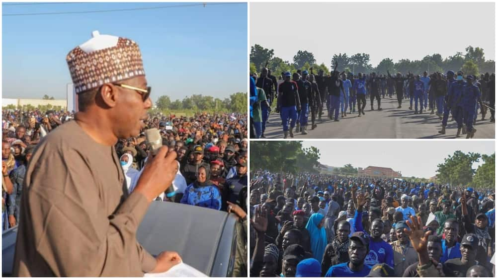 The Borno governor honours the memory of killed JTF members. Photo source: Facebook/Zulum