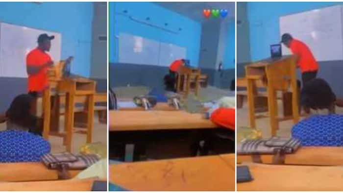 Nigerian lecturer captured using rap song to teach students in class, viral video stuns many people