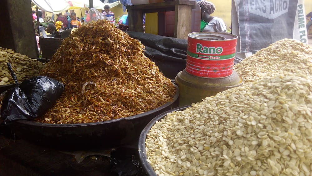Egusi and ogbono maintained their old price while the cost price of crayfish dropped. Photo credit: Esther Odili