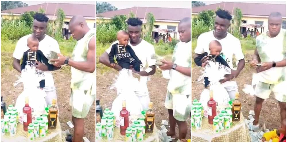 Nigerians react as man frowns while spraying N20 notes on kid celebrating birthday, video goes viral