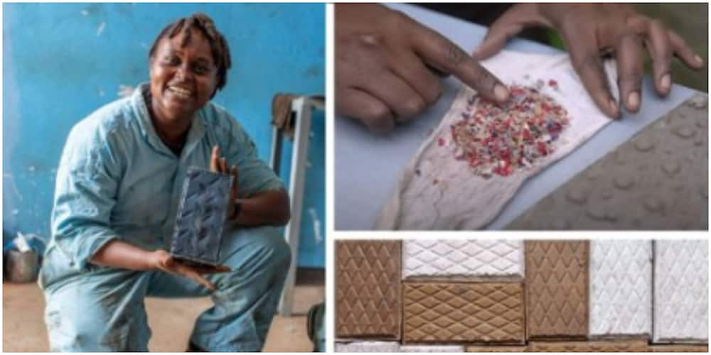 Young lady develops machine that turns waste plastic into stronger bricks for building houses