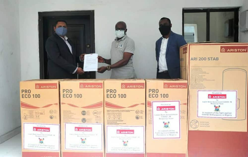 Ariston donates 600-litres capacity water heaters to Lagos state COVID-19 response team