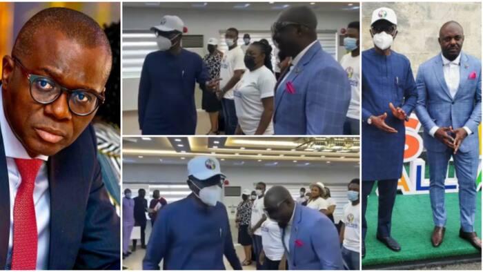 Governor Sanwo-Olu surprisingly steps back as he meets Jim Iyke, calls him bad guy in trending video