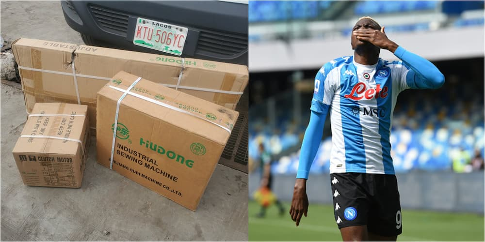 Super Eagles star blesses Nigerian man who only begged him for sewing machine to feed her family