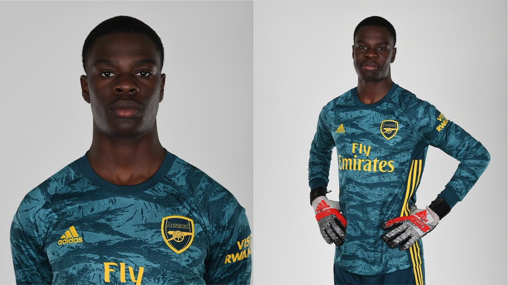 Goalkeeper Ovie Ejeheri in action for Arsenal