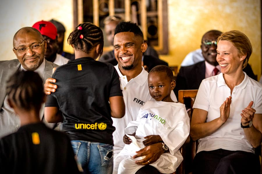 225fe3733 Samuel Eto o has visited a school in Cameroon where he had interactions  with the children