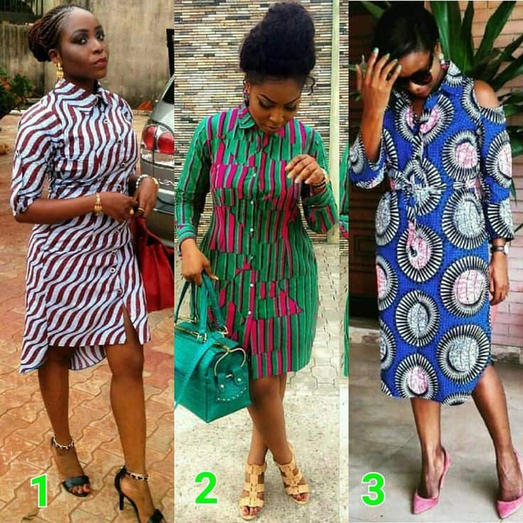 Short African shirt-dresses
