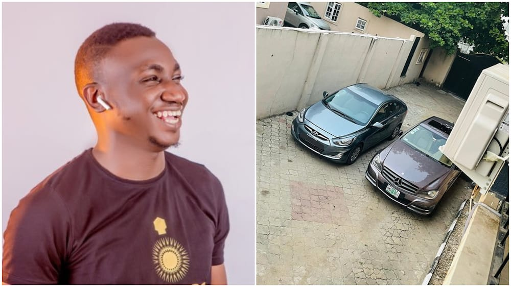 Nigerian man makes it, shows off his garage of cars
