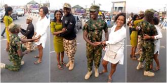 2 Nigerian Soldiers Propose to Their Girlfriends on the Road, Many React to What the Ladies Did