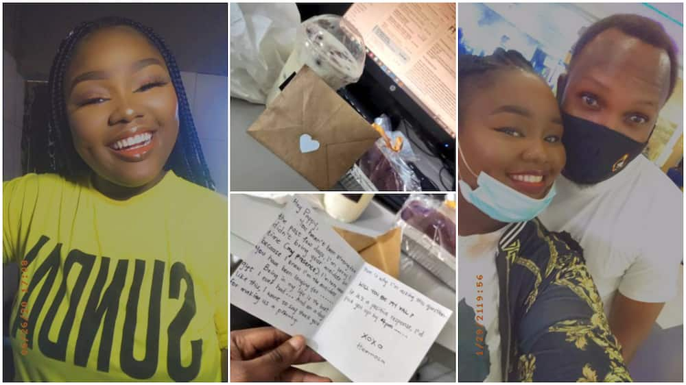 Nigerian lady spoils her boyfriend with N5k gifts, delivers sweets package, love note to his workplace