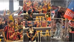 Thousands of oyinbo people scream happily as Davido hammers the Golden Spike at Mercedes Benz Stadium