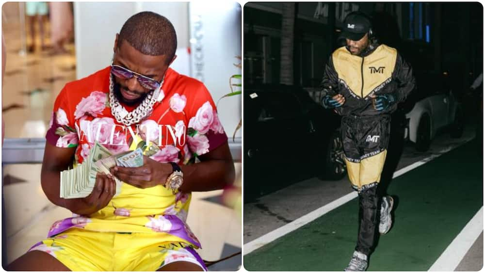 Money man Mayweather shows off stack of $100 bills which should be well over N4m