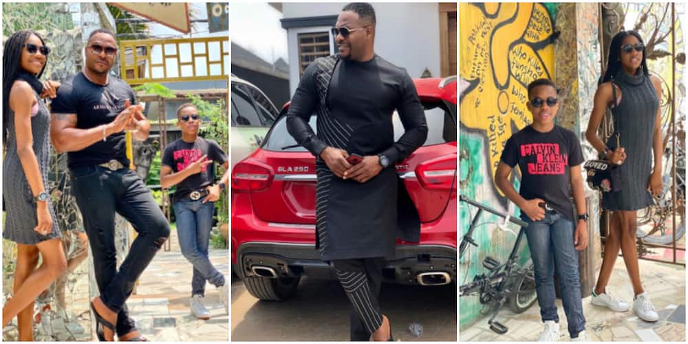 Sweet reactions as Nollywood actor Nino B chills with his kids