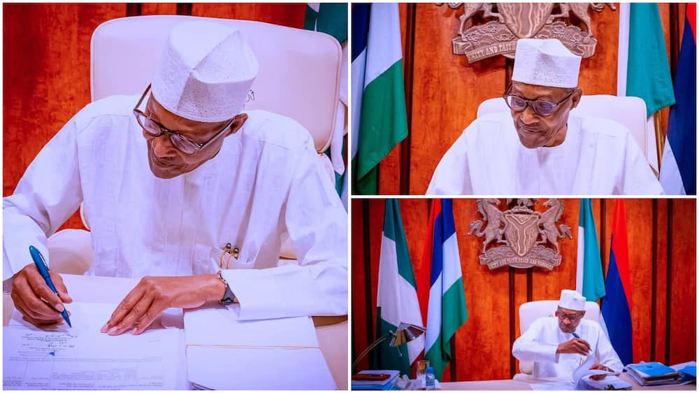 COVID-19: Photos Show Buhari Working from Home as He Observes Isolation after UK Trip