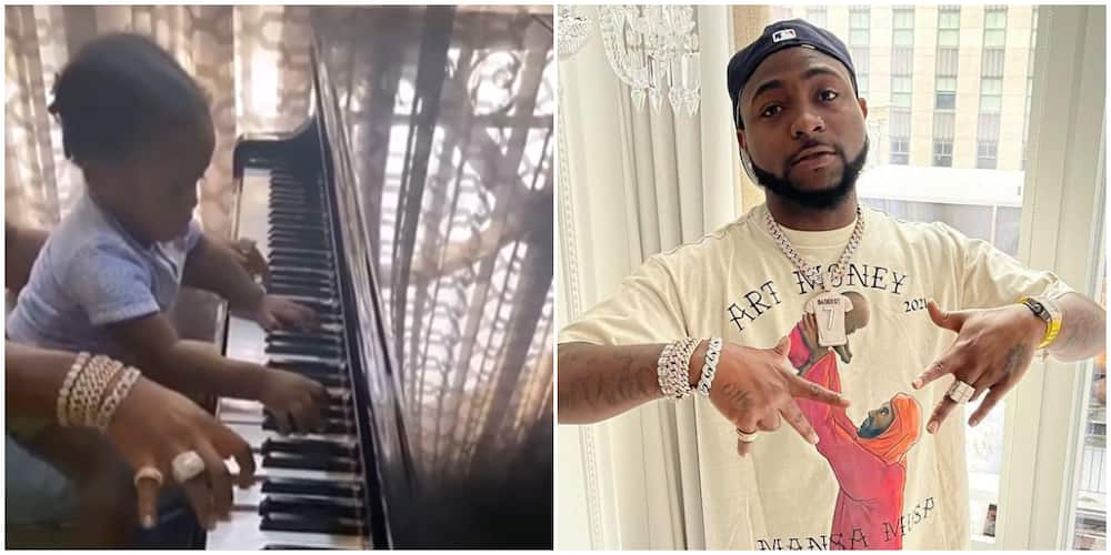 Following Daddy's Footsteps? Ifeanyi Joins Davido to Play the Piano in Heart-Melting Video, Fans Gush