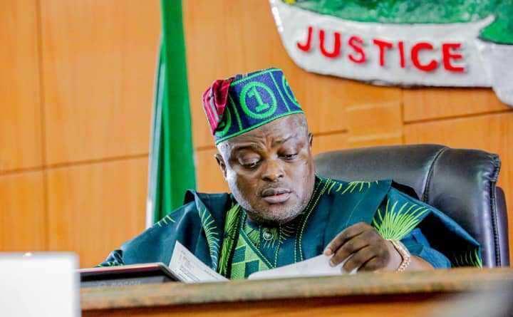 Mudashiru Obasa speaking at the Lagos House of Assembly