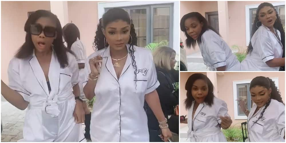 Dancer Kaffy gets knocked off by Iyabo Ojo's behind in hilarious video from Toyin Lawani's bridal shower