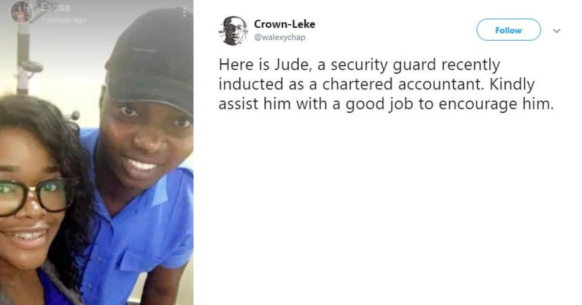 Nigerians praise security guard who gets inducted as chartered accountant