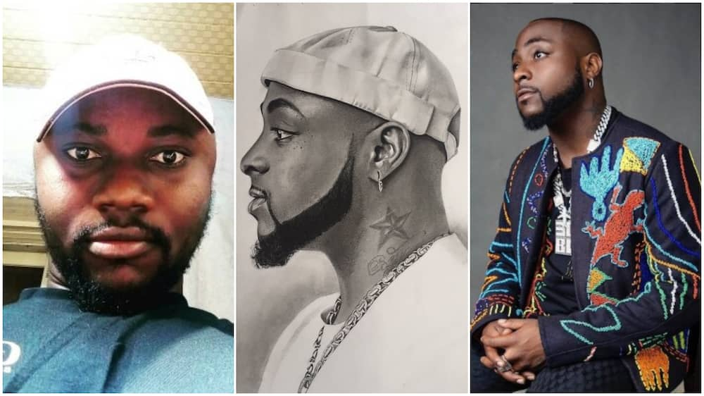 Nigerian artist makes great drawing of Davido with just pencils, stirs reactions