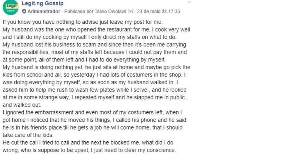 My husband slapped me because I asked him to wash plates - Lady says, Nigerians react