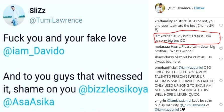 Kizz Daniel apologizes to his manager Tumi, after Davido slapped him at his concert