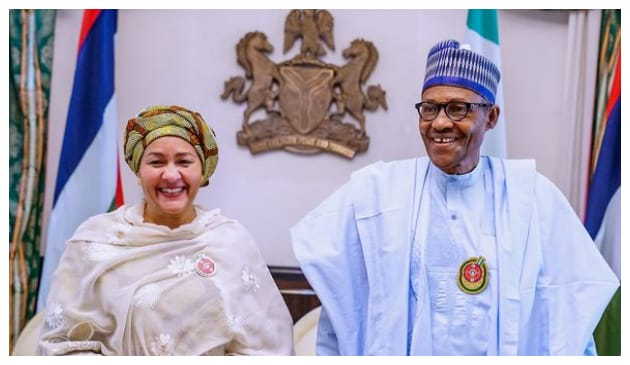 Amina and Buhari during the former's courtesy visit to Aso Rock