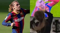 Watch touching moment Barcelona star's daughter copied his goal celebration while watching him on TV (video)