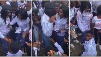 Nigerian fresh graduate rejects boyfriend proposal in public, she collected the ring & threw it away in video