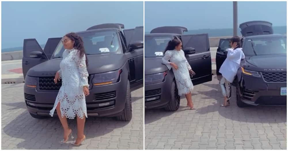 Range Rover gang: Actress Mercy Aigbe and friend Abike Domina film video with their luxury cars