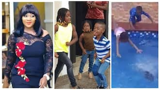 Mercy Johnson shares adorable video of her kids displaying their swimming skills